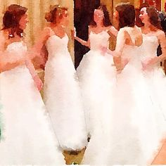 """""""Before the Ball""""  - A flurry of fluffy, winter-white dresses #carydeb14  Photo by Geralin Thomas, using #waterlogue app."""