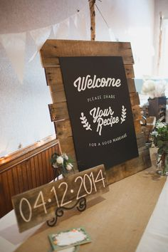Please share your recipe for a good marriage - guest book idea, photo by Kelsea Holder http://ruffledblog.com/cambria-pines-lodge-wedding #weddingideas #guestbook