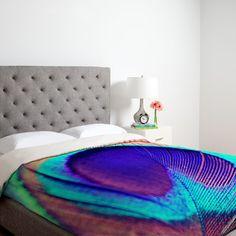 Shannon Clark Pretty Peacock Duvet Cover - eclectic - Duvet Covers - DENY Designs