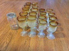 8 small wine glasses 10 large wine glasses  vintage, handblown - $20
