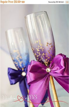 ON SALE 25% Plum and royal wedding glasses by DiAmoreDS on Etsy