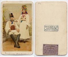 Romanian Wedding Couple  CDV circa 1870.