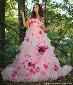ウェディングドレス_ウエディングドレス_二次会ドレス_カラードレス_花ドレス (c088)|ROOM