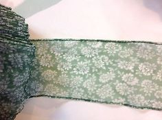 Vintage Green Floral  Sheer Trim        4 1/4 inches wide    2 yards