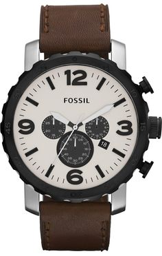 Fossil JR1390 Nate Leather Watch - Brown  Fossil Watch Men