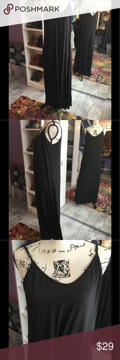 NWT Black BoHo Slinky Beach Lounge Maxi Dress XL Super cute, brand new! Microfiber maxi dress. Great for the pool, beach, lounging, shopping, dress it up! Black XL with side pockets. Dresses Maxi