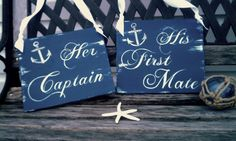 Navy Wedding Signs NAUTICAL Her Captain & His by RomanticPlanet