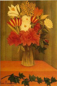 Henri Rousseau (1844 - 1910)   Naïve Art (Primitivism)   Vase of Flowers  - 1910