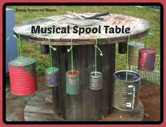 Natural Playspaces Series – Building a Musical Spool Table! - The Empowered Educator - Recycled Tin Musical Spool Table – Mummy Musings and Mayhem - Outdoor Learning Spaces, Outdoor Play Spaces, Outdoor Fun, Decoration Creche, Natural Play Spaces, Preschool Playground, Toddler Playground, Outdoor Playground, Playground Ideas