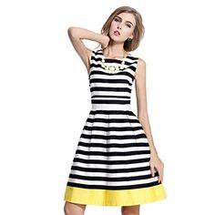 Zeagoo Damen Sommer Ärmellos knielang Striped A Line Kleid