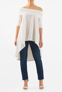 c380fa7b0c185 Our off-the-shoulder cotton knit top with ruched pleating at the fold over