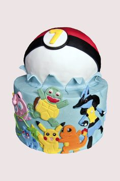 Gâteau Pokemon, Jiggly Puff, Bulbasaur, Squirtle, Pikachu, Charmander, Lucario cake.