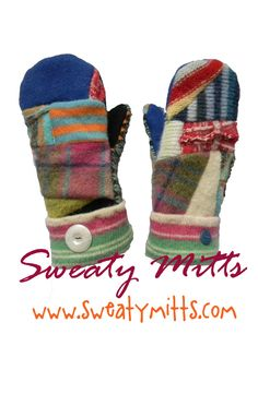 #Mittens #sweater #recycled Hippie-style recycled wool sweater mittens by SWEATY MITTS www.sweatymitts.com
