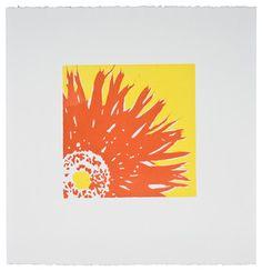 Coral Sunflower - Original Linocut Print contemporary-originals-and-limited-editions