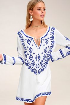 f74e493c5c3 A Day in the Life Royal Blue and White Embroidered Dress 3 Cute Short  Dresses