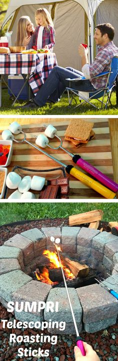"""SUMPRI Barbeqa Marshmallow Roasting Sticks Telescoping Marshmallow Roasting Sticks Extra Long 34"""" Set of 6 Campfire Forks Cooking Skewers for Smores, Hotdogs, Camping Cookware, Backpacking Gear, Bbq Grill, Fireplace Tools, Fire Pit Accessories Press this link now and get your set:http://amzn.to/2b5q486 This set of 6 forks is made by #sumpri #marshmallow #sticks #marshmallowroastingsticks #smoressticks #campfiresticks"""