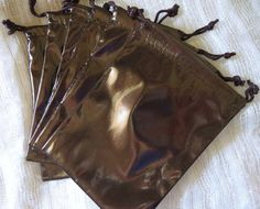 Chocolate Patent Favor Bags 6 Synthetic by PatsysPressedFlowers
