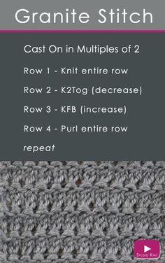How to Knit the Granite Stitch Pattern with Studio Knit stitch Knitting Stiches, Knitting Charts, Easy Knitting, Knitting Patterns Free, Knitting Needles, Knit Patterns, Crochet Stitches, Sock Knitting, Sewing Stitches