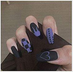 Purple Acrylic Nails, Acrylic Nails Coffin Short, Summer Acrylic Nails, Best Acrylic Nails, Pastel Goth Nails, Cute Acrylic Nail Designs, Soft Grunge Nails, Grunge Nail Art, Purple Nail Art