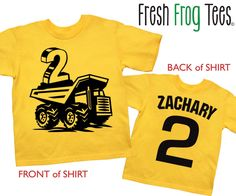 Construction Birthday Shirt personalized dump truck 1st 2nd 3rd 4th 5th birthday tshirt - you pick the colors! by FreshFrogTees on Etsy https://www.etsy.com/listing/165552408/construction-birthday-shirt-personalized