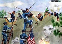 San Patricios' defense of Churubusco -- Mexican War 1847 Mexican Army, Mexican American War, American History, Texas Revolution, American Revolution, Military Diorama, Military Art, Military Uniforms, Native American Models