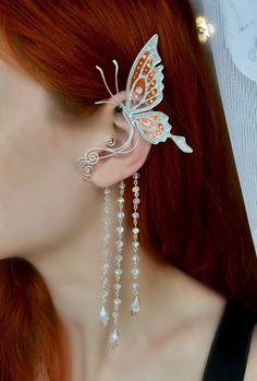Cartilage Ear Cuff Asian Black and Gold Dragonfly/piercing imitation/fake faux piercing/ohrklemme ohrclip/ear manschette/false ear piercing - Custom Jewelry Ideas Emerald Earrings, Round Earrings, Crystal Earrings, Beaded Earrings, Feather Earrings, Bridal Earrings, Crystal Jewelry, Tassel Necklace, Ear Jewelry
