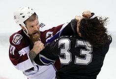 The Avalanche's Scott Parker gets tough with the Los Angeles Kings' Kevin Westgarth in 2008 — and it was just a preseason game. Justin Williams, Tom Wilson, Colorado Avalanche, Los Angeles Kings, Hockey Mom, Boston Bruins, Chicago Blackhawks, Hockey Players, Sheriff
