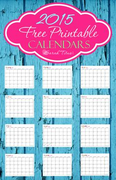 Why pay for calendars, when you can print them free! These awesome 2015 free printable calendars are completely EDITABLE! Great for menu plans, homeschool, blogging, or organizing your life! #freeprintablecalendar #free2015calendar