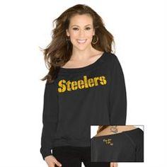 Touch By Alyssa Milano Pittsburgh Steelers Ladies Draft Choice Boat Neck Sweatshirt - Black