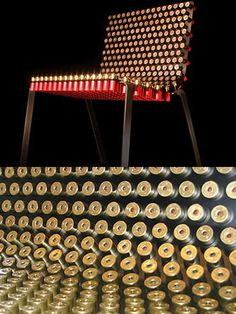 Shotgun shells Chair. Designed by Alexander Reh, the Fully Loaded Chair is made from real shotgun shells. The solid steel chair has been stuffed with once-fired 12-guage shotgun shells. The welded steel frame is gun-blued by hand and can be loaded with many shell options. link