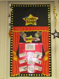 """Hollywood classroom - """"Center Stage""""  Use the curtain, spotlight, lightbulb ideas"""