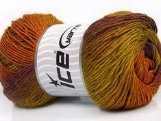 25/% Wool Lot of 4 x 100gr Skeins Ice Yarns BABY WOOL DESIGN Yarn Brown Shades