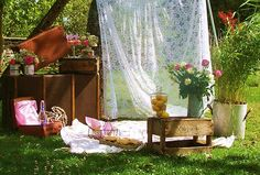 outdoor wedding anniversary vintage party