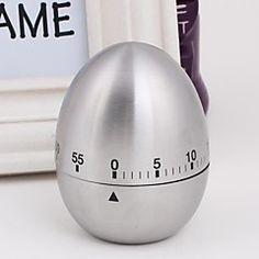 de acero inoxidable de los huevos de forma temporizador mecánico, 6x6x8cm