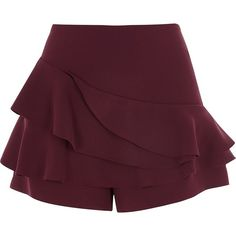 River Island Burgundy tiered frill shorts ($64) ❤ liked on Polyvore featuring shorts, bottoms, red, skorts, women, flounce shorts, river island, ruffle trim shorts, ruffle shorts and frill shorts