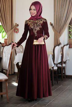 Mevra Bordo Kadife Fulya Abiye Elbise