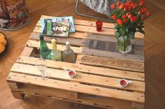 pallet coffee table with bottle rack