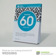 Creative Countdown's 60-day Countdown To Wedding makes a unique shower gift. Each day on the countdown offers a fun tip for the bride and groom.  Fully personalized and customized countdowns also available. See our complete line at Www.creativecountdown.com.