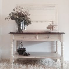Beautiful Vintage Hall Table.... Refinished in country grey Annie Sloan chalk paint the top is oiled and waxed to reveal the stunning wood grain.
