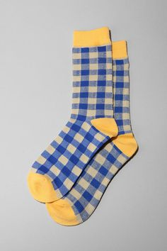 blue gingham socks with yellow heels Funky Socks, Crazy Socks, Cute Socks, My Socks, Foot Warmers, Corsets, Stocking Tights, Designer Socks, Happy Socks