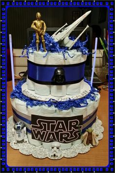 Star Wars Diaper Cake Baby Shower Gifts For Boys, Baby Shower Decorations For Boys, Baby Shower Parties, Baby Boy Shower, Baby Gifts, Baby Showers, Baby Shower Diapers, Baby Shower Cakes, Diaper Cake Boy