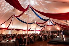 Tent Fabric Draping, Chandeliers, & Lighting by The AV Company (Monticello Cabinet Dinner - Charlottesville, VA)