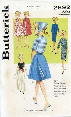 ORIGINAL 60s Doll Clothes PATTERN 2892 for 11.5 in Barbie Midge Francie  Mattel