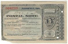 Pleasantville, IA 1889 Postal Note #004239 Issued for 2 cents