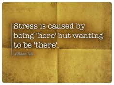 Stress is caused by being 'here' but wanting to be 'there'. -Eckhart Tolle (Thats because 'here' sucks)