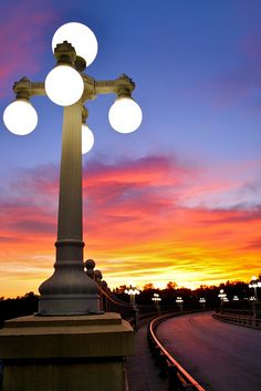 Colorful sky on the Colorado Street bridge in Pasadena, CA Colorado Street Bridge, Lamp Post Lights, Street Lamp, California Dreamin', Beautiful Sky, Art And Architecture, Mother Nature, Scenery, Around The Worlds