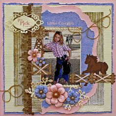 Little Cowgirl *Heartfelt Creations* - Scrapbook.com Wendy Schultz via Patti Rodger's onto Scrapbook Layout's. If I start scrapbooking again. Might just settle for helping Addy make her own book:) even better!