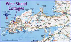 Map of the Dingle Peninsula, Co. Kerry, Ireland. Note Wine Strand Cottages... sandy beaches, archaeologically rich, regular ferry service to Blasket or if you are of mind, a boat trip to experience the coastline of David Lean's film, 'Ryan's Daughter'.