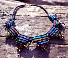 Macrame colorful necklace by SimplyThread on Etsy