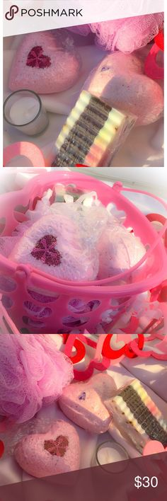 Lavender/Chamomile Valentine Spa Basket  23.6oz Pamper your loved one this Valentine's with our Effervesces Spa Set. Enjoy the scent of Lavender/Chamomile while your skin soaks in the moisture of the hydrating Bath Bombs. Each Set includes; 1-XL Heart Bomb, 1-LG Heart Bomb, (both with cake topper ❤centers that will melt in the tub) 1-SassySoap Bath Bar with Shea Butter & Lavender Seeds, 1- bath size bag of Da'Bombs, 1-Mini Candle and 1-Bath Scrub all carefully placed in a decorative heart…